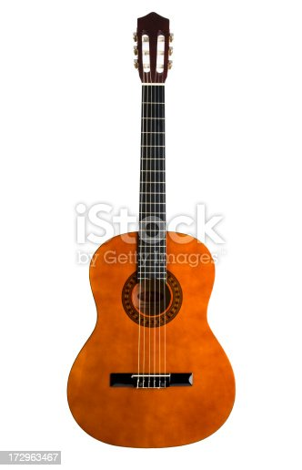 Fron view of a acoustic guitar isolated on white