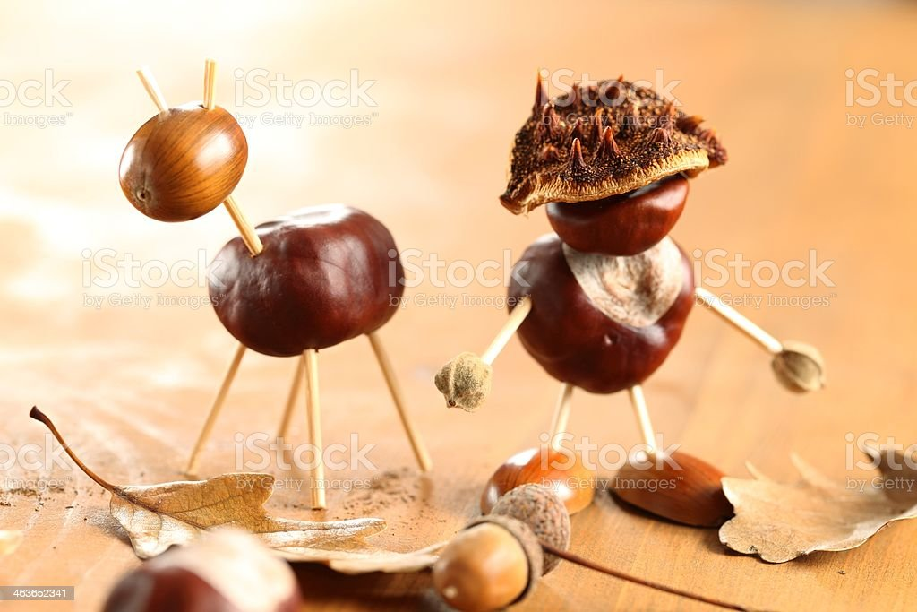 Chestnut figurines stock photo