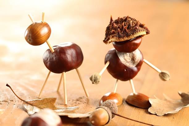 Chestnut figurines stock photo
