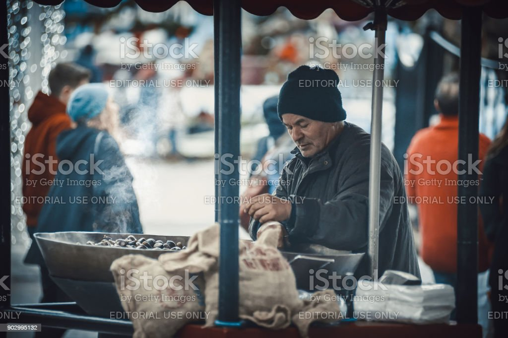 Chestnut seller on the streets of Lille stock photo