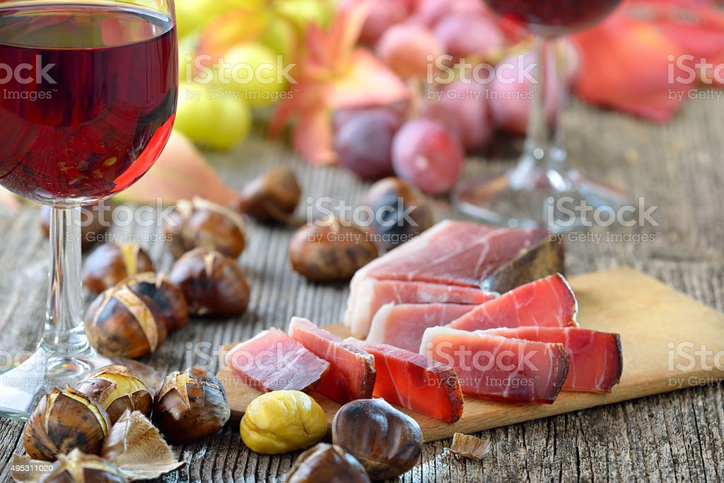 Chestnuts and bacon stock photo