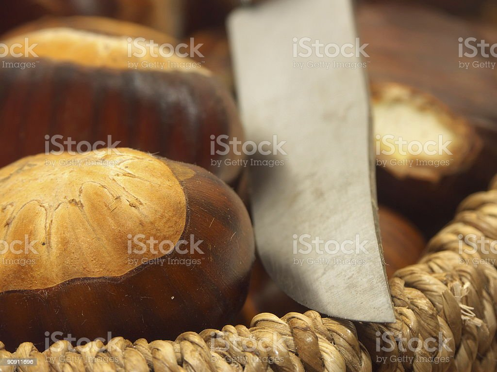 Chestnuts and knife royalty-free stock photo