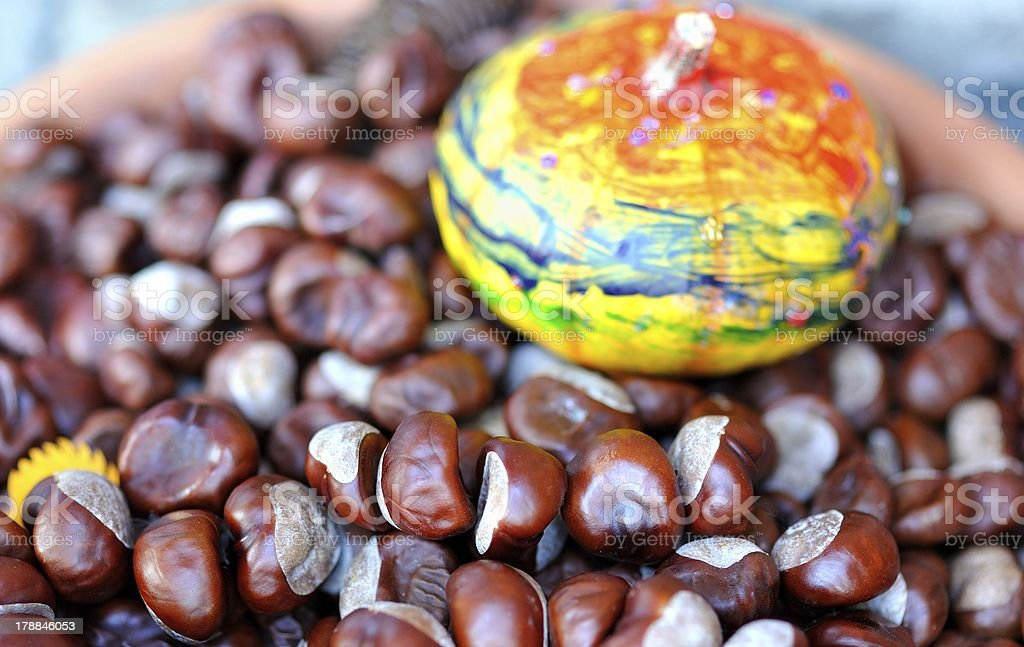 Chestnuts and pumpkin royalty-free stock photo