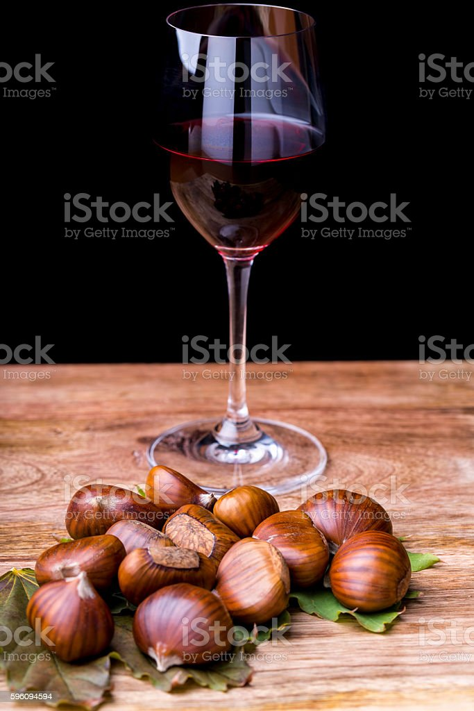 chestnuts and wine royalty-free stock photo