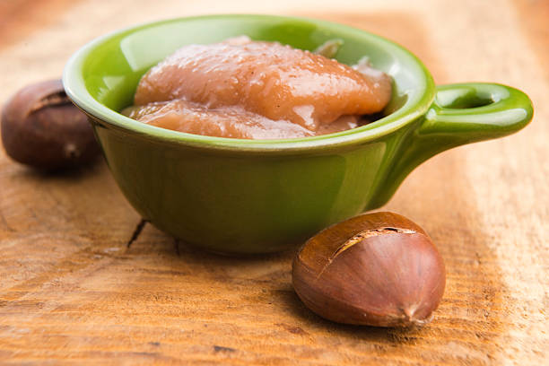 Chestnuts cream with chestnuts stock photo