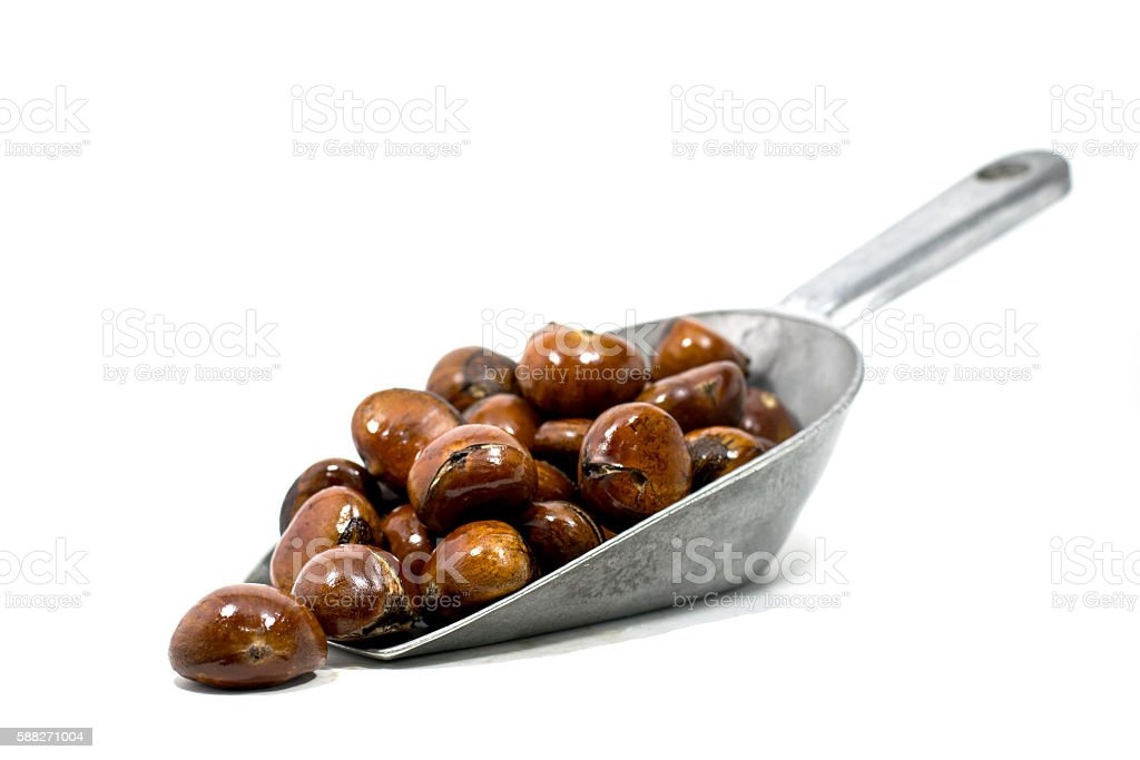 Chestnuts in metal scoop On a white background stock photo