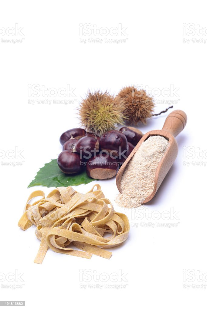 Chestnut's tagliatelle stock photo