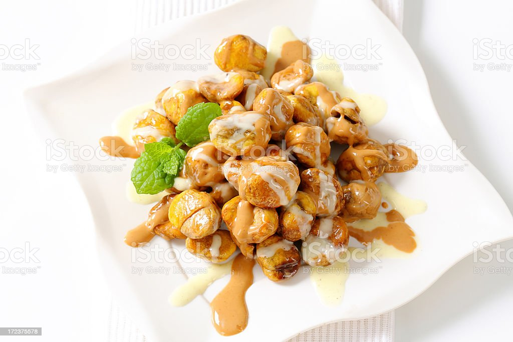 chestnuts with sauce royalty-free stock photo