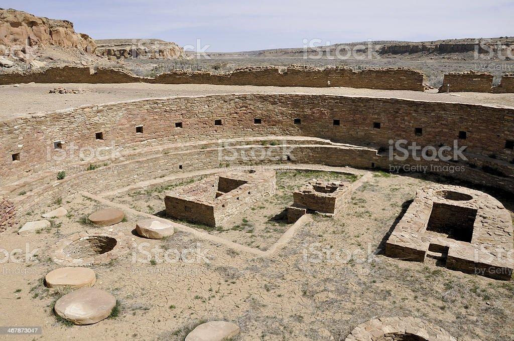 Chetro Ketl, Great Kiva ruins, Chaco Canyon, New Mexico (USA) stock photo
