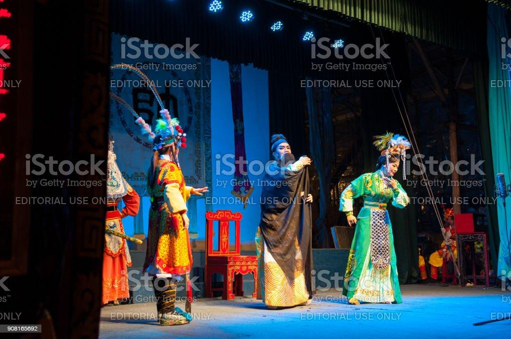 Hong Kong, China - September 1, 2013 : Cheung Chau Bun Festival, cantonese opera on September 1, 2013 in Cheung Chau, Hong Kong stock photo