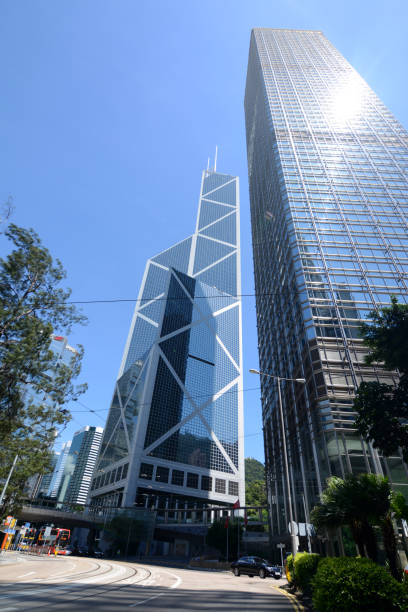 Cheung Kong Center and Bank of China tower, Hong Kong Cheung Kong Center and Bank of China tower, two landmark buildings in Hong Kong island financial district. bank of china stock pictures, royalty-free photos & images
