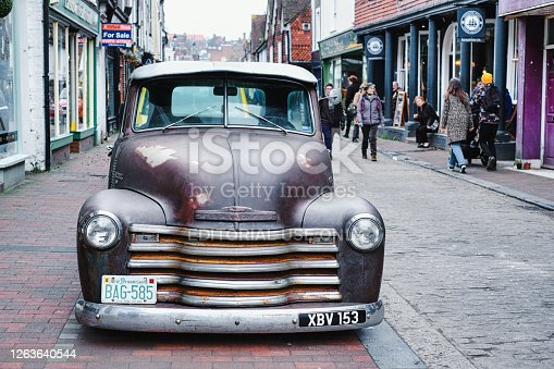 Lewes, England - Jan 27, 2020: Chevrolet 3100 pickup truck
