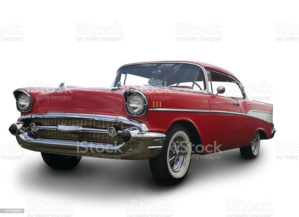 A Chevrolet Bel Air 1957 against a white background royalty-free stock photo
