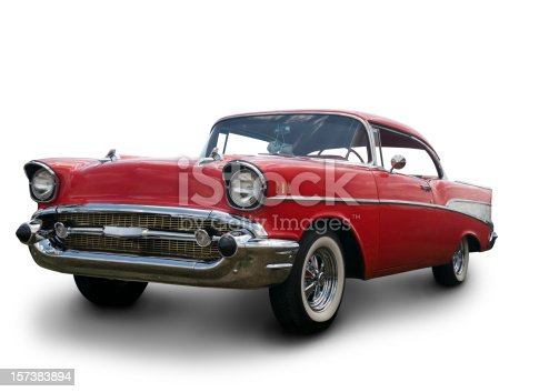 Classic Red 1957 Chevy Bel Air. Clipping Path on Vehicle.