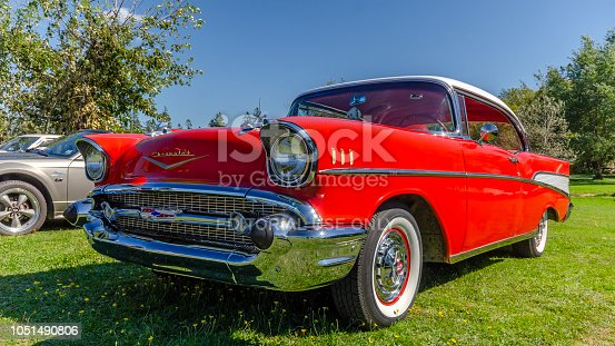 Canning, Nova Scotia, Canada - September 23, 2018: 1957 Chevrolet Bel Air on display by owner at