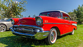 Canning, Nova Scotia, Canada - September 23, 2018: 1957 Chevrolet Bel Air on display by owner at \