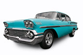 A classic American Chevrolet Bel Air from 1958. Clipping Path on Vehicle. All logos removed.