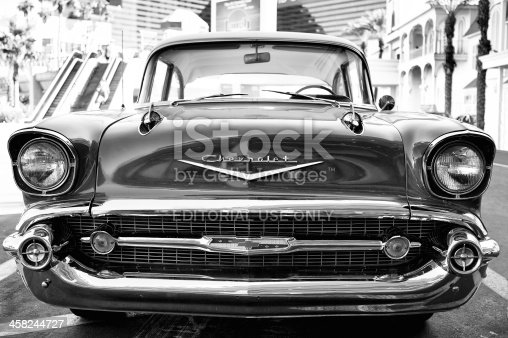 Las Vegas, Nevada, USA - October 15 2012:  The front view of a 1957 Chevrolet Bel Air antique car located in the parking lot of the Flamingo Hotel and Casino.