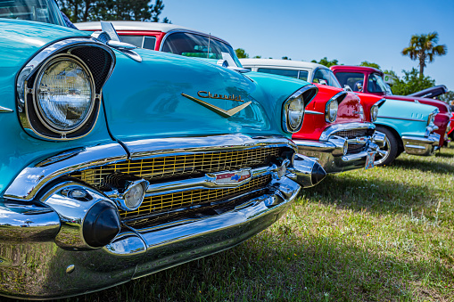 Savannah, GA / USA - April 21, 2018: 1957 Chevrolet BelAir hardtop coupe at a car show in Savannah, Georgia.