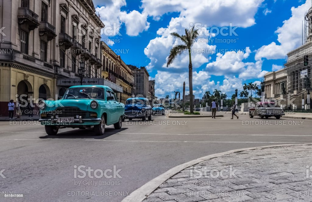 Chevrolet Buick vintage cars on the mainstreet in Havana Cuba stock photo