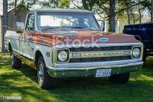 Hilden, Nova Scotia, Canada - September 21, 2019 : 1969 Chevy C10 pickup, Scotia Pine Show & Shine at Scotia Pine Campground.