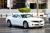 Dubai, UAE - November 16, 2018: Motor car Chevrolet Camaro in the city street.