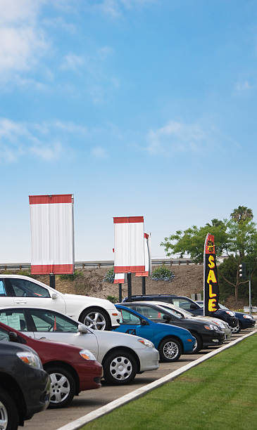 Chevrolet cars in a row at the dealership for sale stock photo