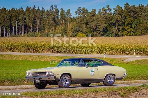 Augsburg, Germany - September 29, 2019: 1968 Chevrolet Chevelle american oldtimer car at the Fuggerstadt Classic 2019 Oldtimer Rallye.