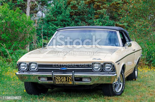 Chester, Nova Scotia, Canada - June 22, 2019 :1969 Chevelle convertible on display at annual Graves Island Car Show at Graves Island Provincial Park, Chester, Nova Scotia Canada