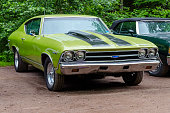 Moncton, New Brunswick, Canada - July 10, 2016 : 1969 Chevelle parked in Centennial Park, Moncton. New Brunswick Canada during a rain shower.