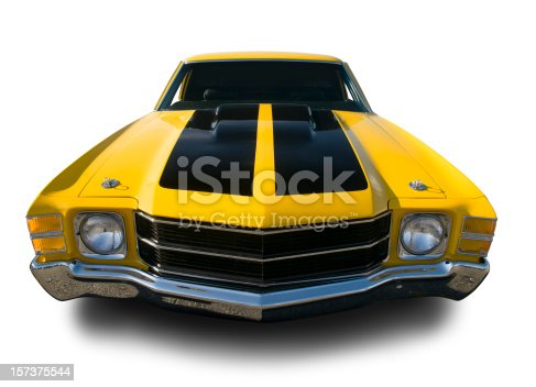 Classic Yellow Chevelle/El Camino. Clipping Path on Vehicle.