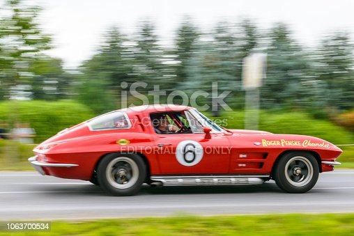 Chevrolet Corvette C2 Split Window or Sting Ray racing car doing a demonstration drive during the 2017 Classic Days event at Schloss Dyck.