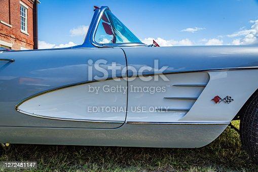 Fernandina Beach, FL / USA - September 22, 2018: 1960 Chevrolet Corvette convertible at a car show at Fort Clinch in  Fernandina Beach, Florida near Jacksonville.