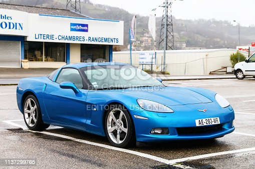 Auvergne-Rhone-Alps, France - March 15, 2019: Blue sports car Chevrolet Corvette in the city street.