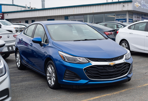 Dartmouth, Canada - January 10, 2021 - A 2019 Chevrolet Cruze Sedan (now discontinued) at a dealership.