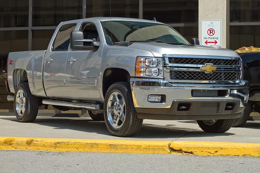 Calgary, Alberta - July 27, 2010 : New 2011 Silver Chevrolet Heavy Duty truck shot during press release.