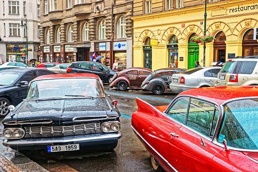 Prague, Czech Republic - June 10, 2012: Chevrolet Impala 1959 american retro car in the streets of Prague, Czech Republic