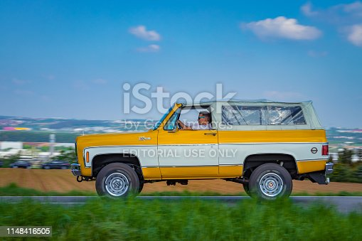 Sielmingen, Germany - May 1, 2019: Chevrolet K5 Blazer american oldtimer offroad truck at the 15. Sielminger Oldtimerfest event.