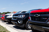 Chevrolet light trucks on display. Chevy is a Division of General Motors