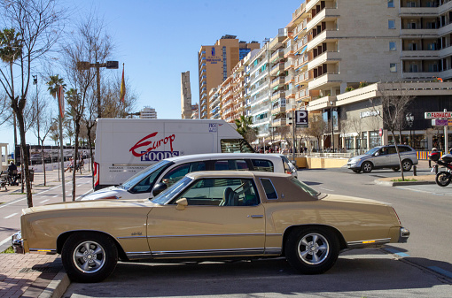 A Chevrolet Monte Carlo two door coupe parked in Los Boliches. Named after the city in Monaco and built between the years 1970 and 2007.