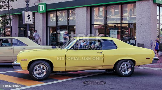 Moncton, New Brunswick, Canada - July 7, 2017 : 2017 Atlantic Nationals Automotive Extravaganza, 1974 Chevrolet Nova SS on display in the downtown area of Moncton, New Brunswick.