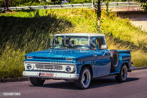 Heidenheim, Germany - July 8, 2018: Chevrolet pick-up truck at the 2. Oldtimer day in Heidenheim an der Brenz, Germany.