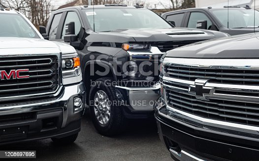 Halifax, Canada - February 25, 2020 - 2020 GMC& Chevrolet pickup trucks at a dealership in Halifax's North End.