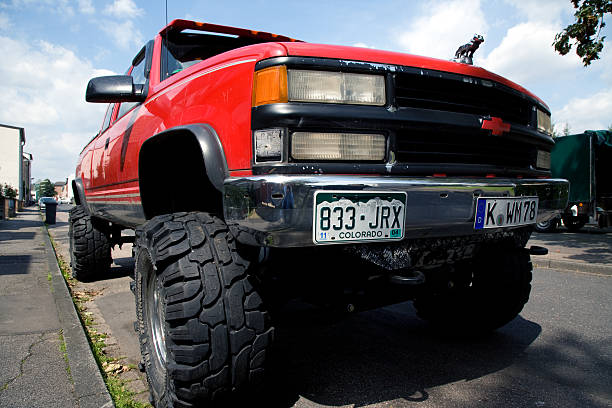 Chevrolet pick-up with big tires stock photo
