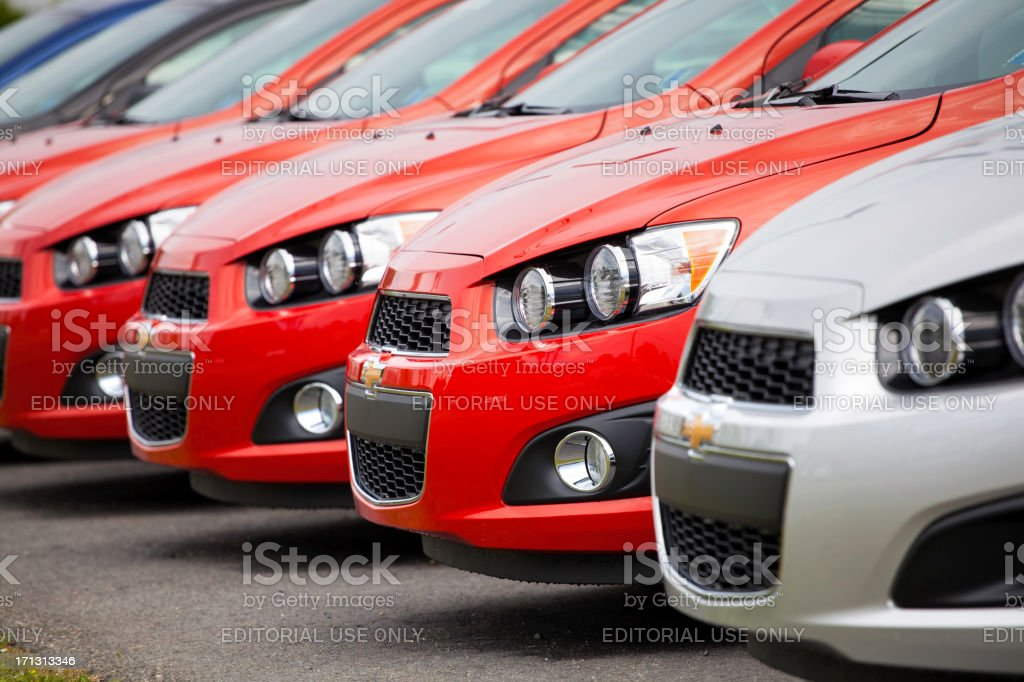 Chevrolet Sonic Vehicles in a Row royalty-free stock photo