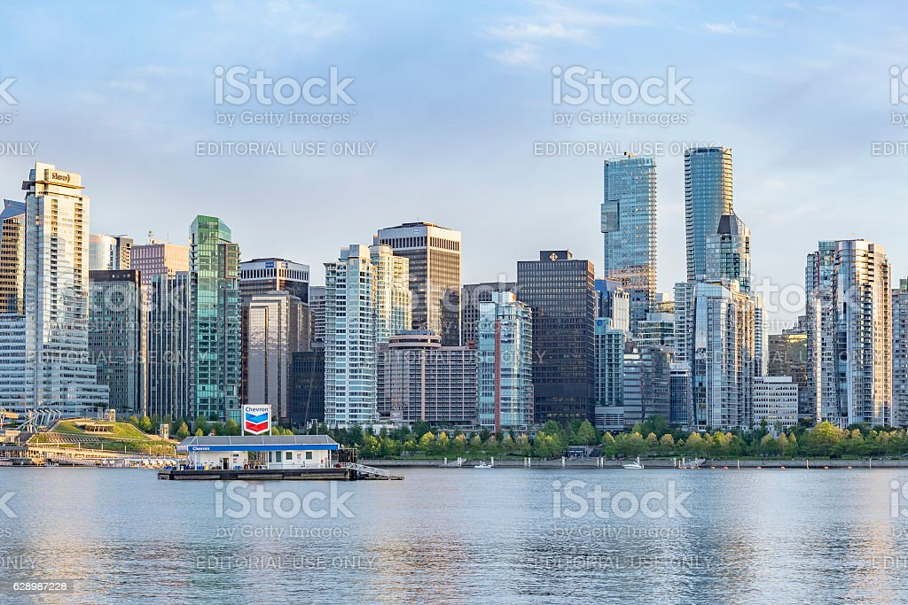Chevron floating gas station in  Vancouver stock photo