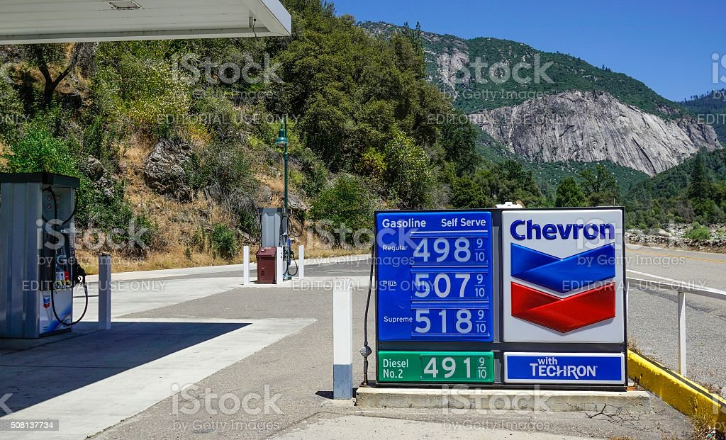 Chevron Gas Station in El Portal California stock photo
