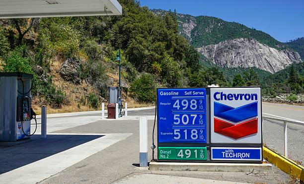 chevron gas station in el portal california - chevron stock photos and pictures