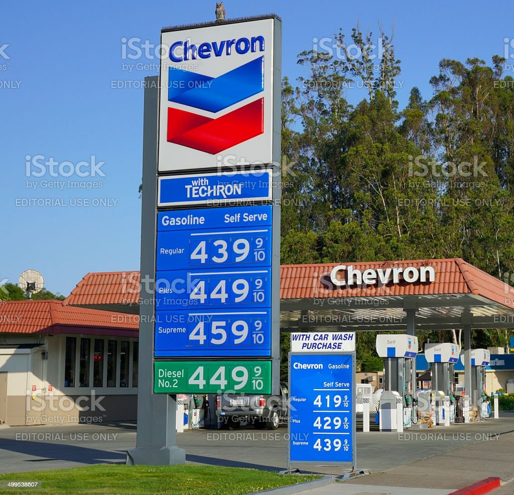 Chevron Gas Station in Sausalito, California stock photo