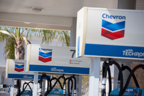 Norwalk, California, U.S.A. - March 12, 2014: Close up of a Chevron Gas Station in Norwalk, California. Chevron is an American based energy corporation that is active in over 175 countries in the world.
